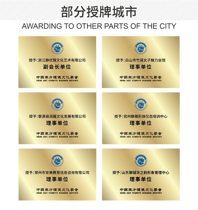 礼仪培训城市合作城市授牌