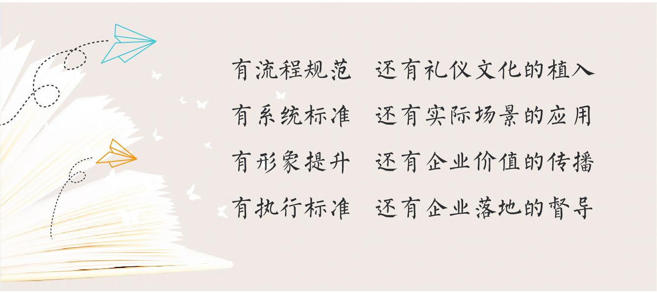 1礼仪流程规范,礼仪文化的植入,2系统礼仪标准,实际场景的礼仪应用,3形象礼仪提升,有企业礼仪价值的传播,4礼仪执行标准,企业礼仪落地的督导