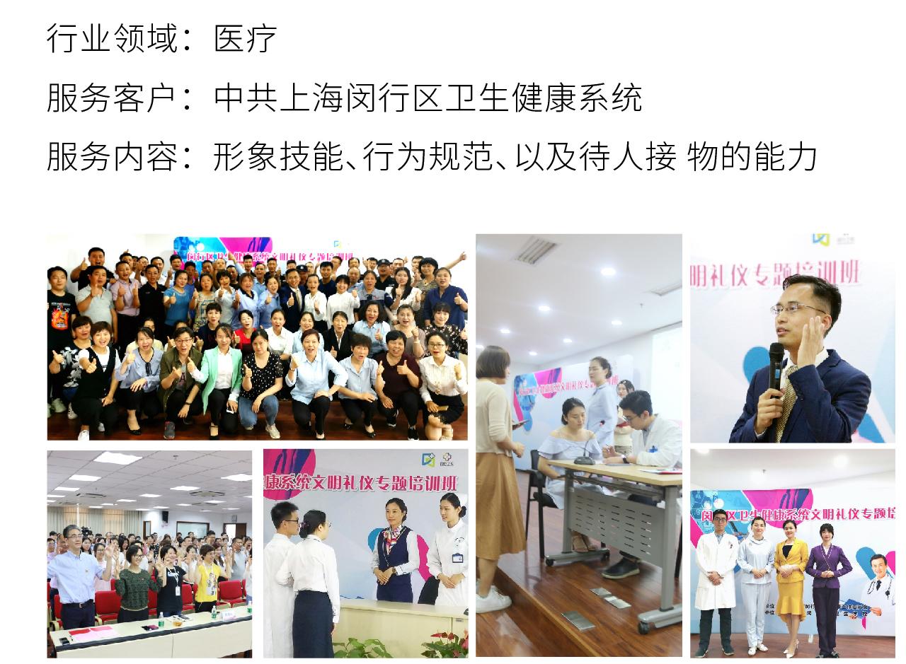 8医疗行业礼仪培训项目:中共上海闵行区卫生健康系统,客形象技能、行为规范、以及待人接 物的能力礼仪培训案例