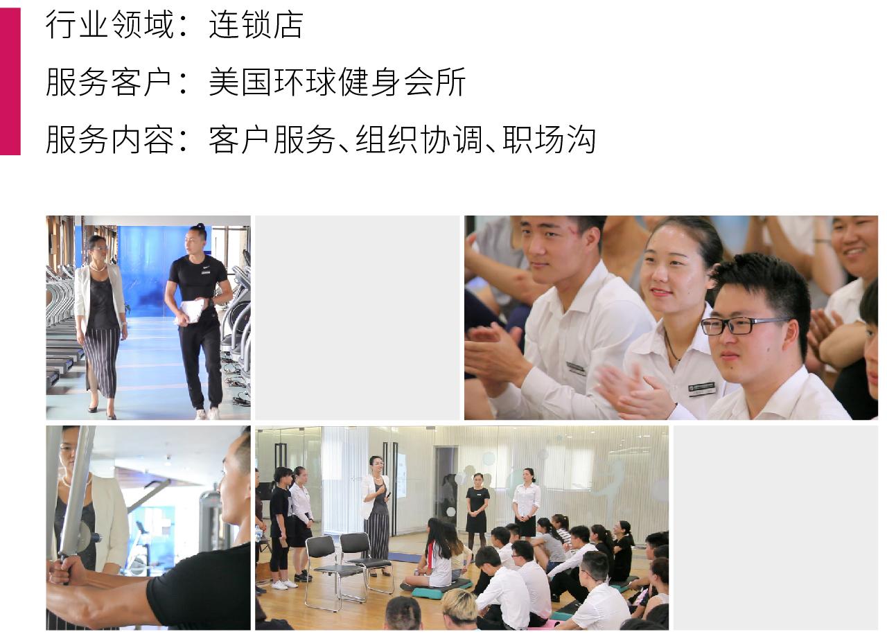 7会所行业礼仪培训项目:美国环球健身会所,客户服务、组织协调、职场沟通礼仪培训案例